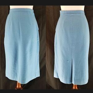 60s VTG Handmade Blue Wool Pencil Skirt, SZ SM